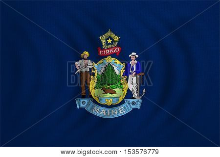 Flag of the US state of Maine. American patriotic element. USA banner. United States of America symbol. Mainer official flag wavy with real detailed fabric texture illustration. Accurate size colors