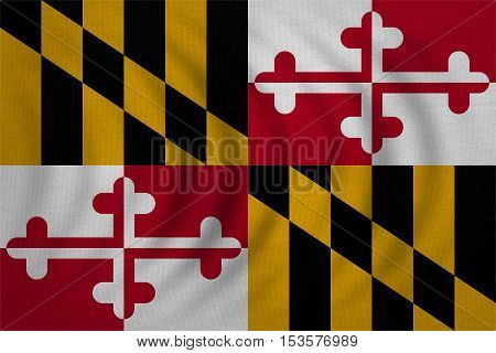 Flag of the US state of Maryland. American patriotic element. USA banner. United States of America symbol. Maryland official flag wavy real detailed fabric texture illustration. Accurate size colors