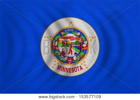 Flag of the US state of Minnesota. American patriotic element. USA banner. United States of America symbol. Minnesotan official flag wavy detailed fabric texture illustration. Accurate size colors