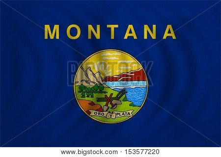 Flag of the US state of Montana. American patriotic element. USA banner. United States of America symbol. Montanan official flag wavy real detailed fabric texture illustration. Accurate size colors