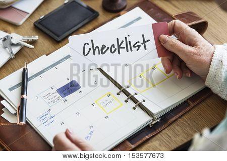 Checklist Personal Organizer Achievement Plan Reminder Concept