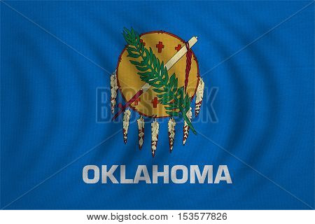 Flag of the US state of Oklahoma. American patriotic element. USA banner. United States of America symbol. Oklahoman official flag wavy real detailed fabric texture illustration. Accurate size color