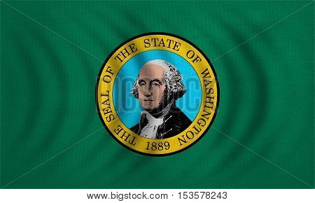 Flag of the US state of Washington. American patriotic element. USA banner. United States of America symbol. Washingtonian official flag wavy detailed fabric texture illustration. Accurate size color