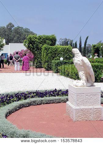 Akko Israel - May 11 2004: Sculpture of eagle in Bahai garden.
