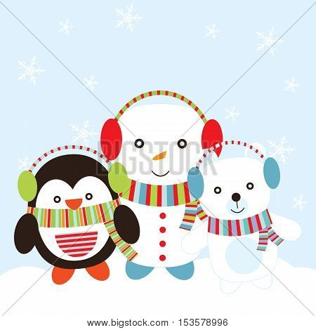 Christmas illustration with cute snowman, bear, and penguin background suitable for children Xmas card, postcard, and wallpaper