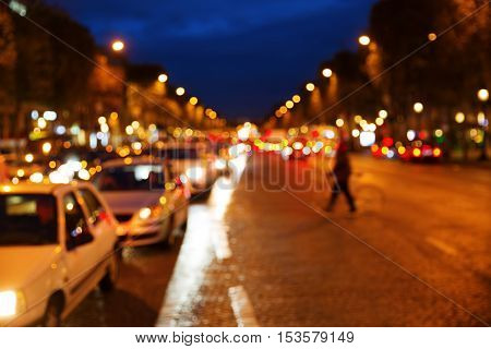 Champs-elysees In Paris At Night