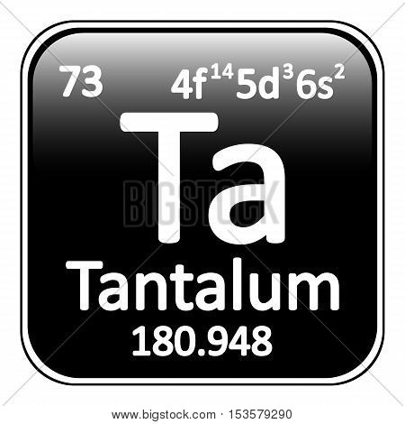 Periodic table element tantalum icon on white background. Vector illustration.
