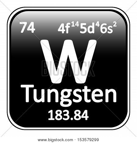 Periodic table element tungsten icon on white background. Vector illustration.