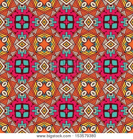 ethnic festive pattern for fabric. Abstract hand drawngeometric colorful vintage seamless pattern ornamental.