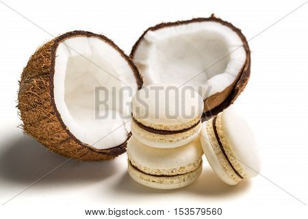 Tasty Macaroons With Coconut On White Background