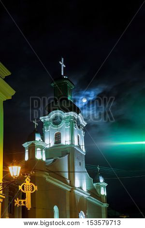 Night view of Roman Catholic Cathedral of St. George in Uzhgorod