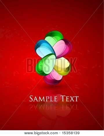 Glass stone compositon on textured glossy background with reflection. Eps10 vector illustration