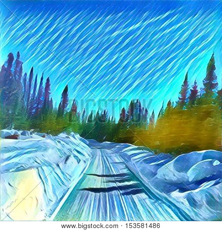 Watercolor painting - Beautiful winter snow road with trees