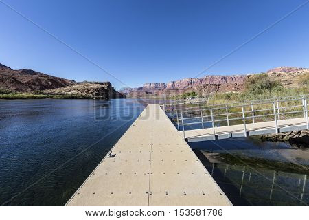 Lees Ferry boat dock and the Colorado River at Glen Canyon National Recreation Area in Arizona.