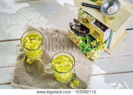 Healthy linden tea with honey for flu