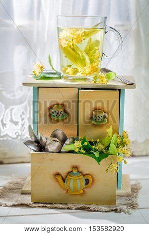 Healing Linden Tea With Honey In Summer Day