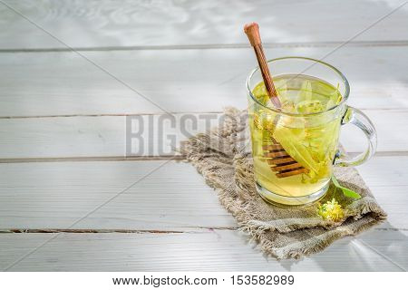 Aromatic Linden Tea With Honey In Summer Day