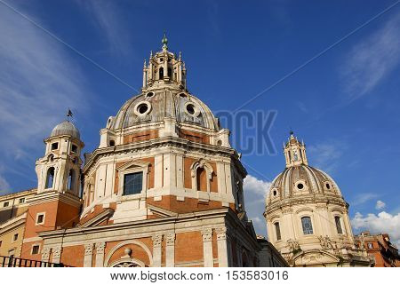 View of the Trajan's Forum twin churches dedicated to Virgin Mary with renaissance and baroque domes