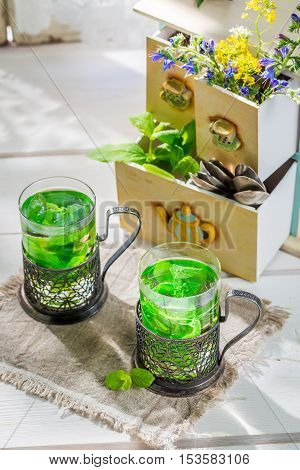 Sweet Mint Tea With Honey In Summer Day