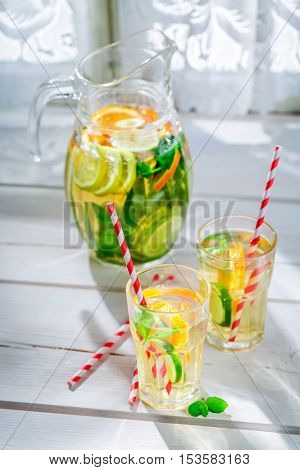 Healthy Lemonade With Fruits With In Summer