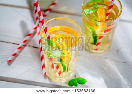 Healthy Lemonade With Fruits With In Sunny Day