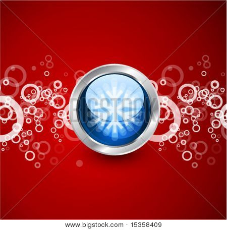 Christmas glossy illustration. Blue glass ball with a snowflake on a red surface