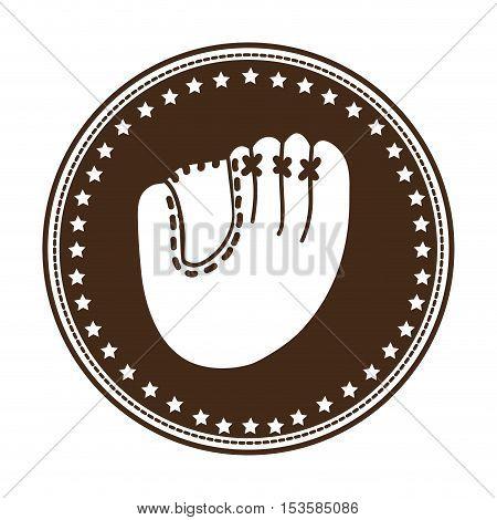 baseball mitt emblem or label icon image vector illustration design