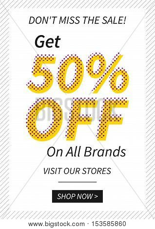 Vector promotional Get 50 percent off on all brands banner for online stores websites retail posters social media ads. Creative banner layout for retail sale materials coupons advertising.