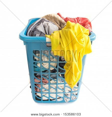 Clothes fabric basket on white background housework concept
