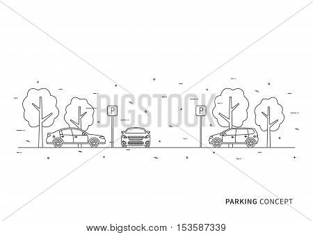 Parking vector illustration. Parking lot creative concept. Parking zone with cars trees and parking road signs graphic design.