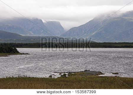 Mountains in the Western Brook Pond region of the Gros Morne National Park Newfoundland Canada