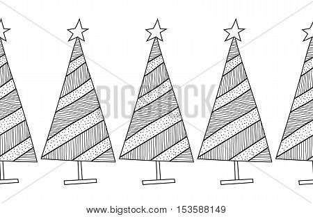 Black and white seamless pattern with decorative Christmas trees for coloring book. Winter, festive background. Vector illustration