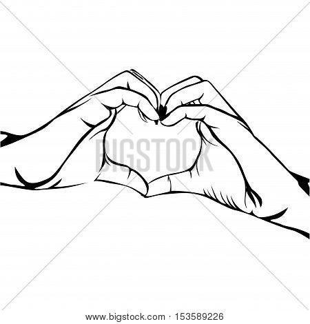 hands making heart gesture image vector illustration design