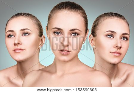 Three perfect faces of beautiful young woman over blue backgraund.