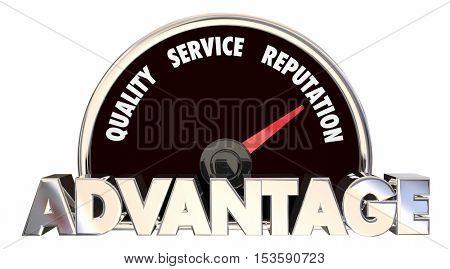 Advantage Quality Service Reputation Speedometer 3d Illustration