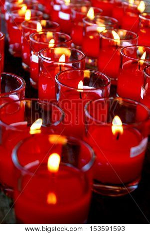Closeup red candle, candle-lit, symbols religion, Abstract