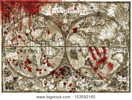 Antique atlas map of world with bloody hand print and drops. Vintage pirate adventures, treasure hunt and old transportation concept. Grunge texture with graphic drawings and mystic symbols
