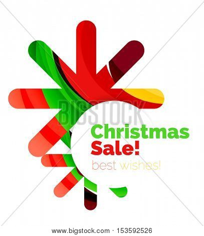 Geometric Christmas sale or promotion ad banner. Blank offer design