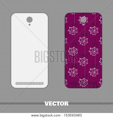 Violet phone cover with hand drawn spiderwebs and spiders. Vector illustration.