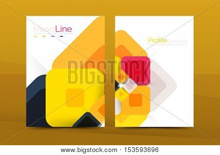 Vector colorful square business annual report cover, brochure template