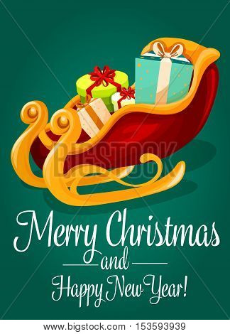 Christmas sleigh of Santa Claus greeting card. Santas golden sled with gift box and presents. Merry Christmas and Happy New Year poster design