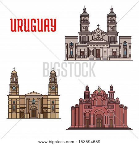 National Shrine of the Sacred Heart of Jesus, Church of Our Lady of the Mount Carmel, Cathedral of Mercedes. Famous architecture buildings of Uruguay. Vector detailed linear icons for souvenirs, travel guide