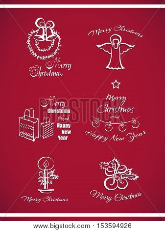 Set of decorative Xmas and New Year badges. White badges isolated on red background. Elements of design for Xmas. Vector illustration