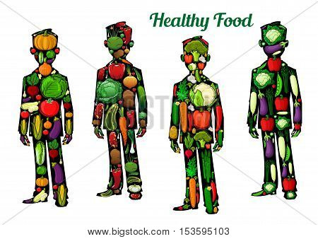 Healthy food nutrition icons. Human body silhouette elements with vector vegetables. Healthy vegetarian diet eating lifestyle concept with vegetables, cauliflower, pepper, carrot, radish, potato, cucumber, cabbage, corn, broccoli
