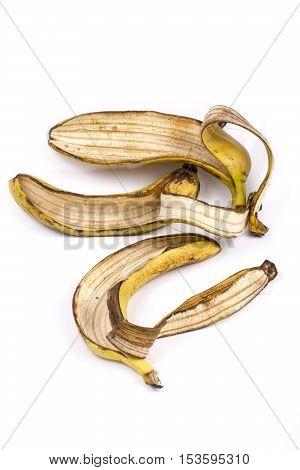 Banana peel on white background close up