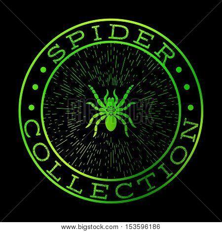 Spider collection green label design on the black background, vector symbol