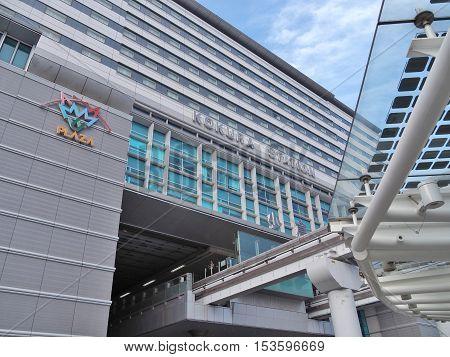 Kokura, Japan - July 17, 2016: Kokura Station in Kokura Kita ward is the main railway station in Kitakyushu, Japan. It is the second largest station in Kyushu with 120,000 users daily.