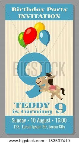 Kids birthday party cartoon animals horse invitation. Vector illustration