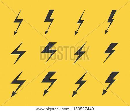 Set of vector black color lightnings over yellow background illustration