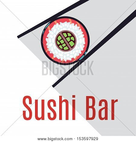 Sushi bar food logo template. Seafood and fresh roll, vector illustration